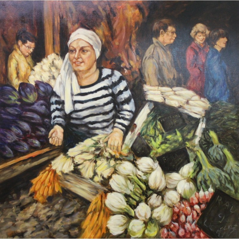 A. van Klugt-woman at market stall