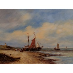 L. Scheen-flat-bottomed fishing boats on beach
