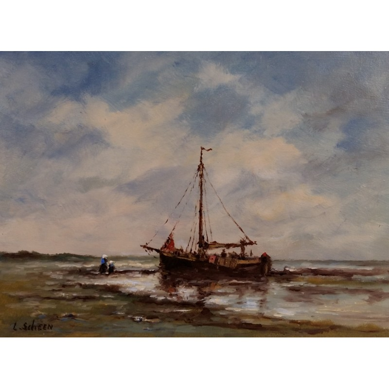 L. Scheen-ship on beach