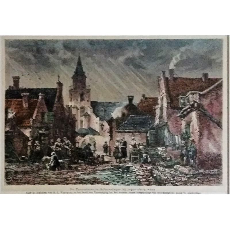 Colored etching cityscape