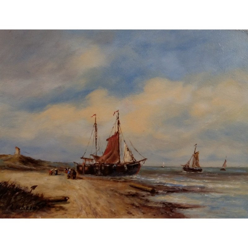 L. Scheen-ship on the beach