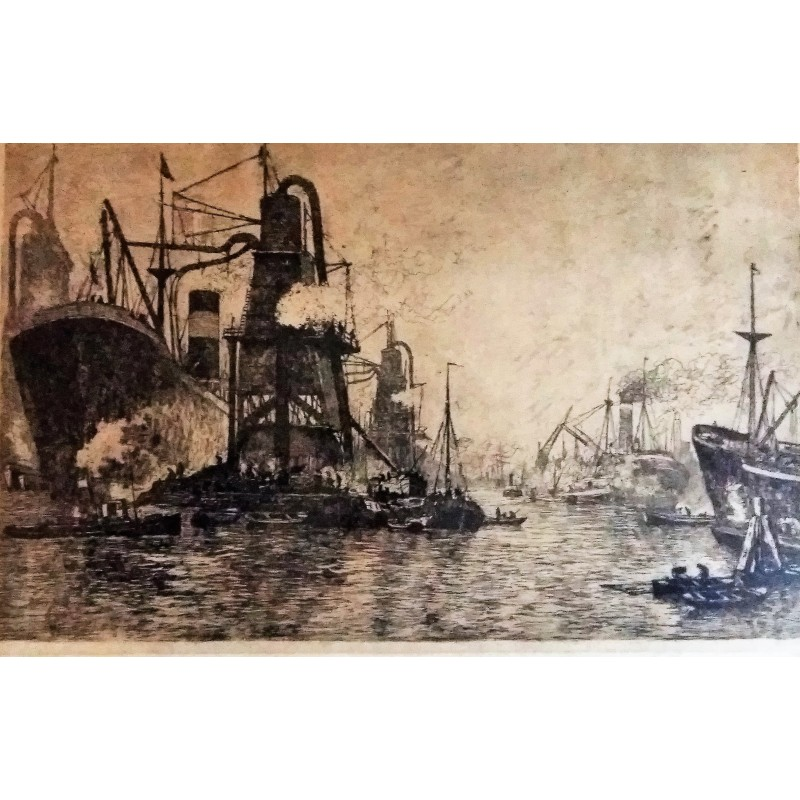Unknown Etching Harbour Rotterdam
