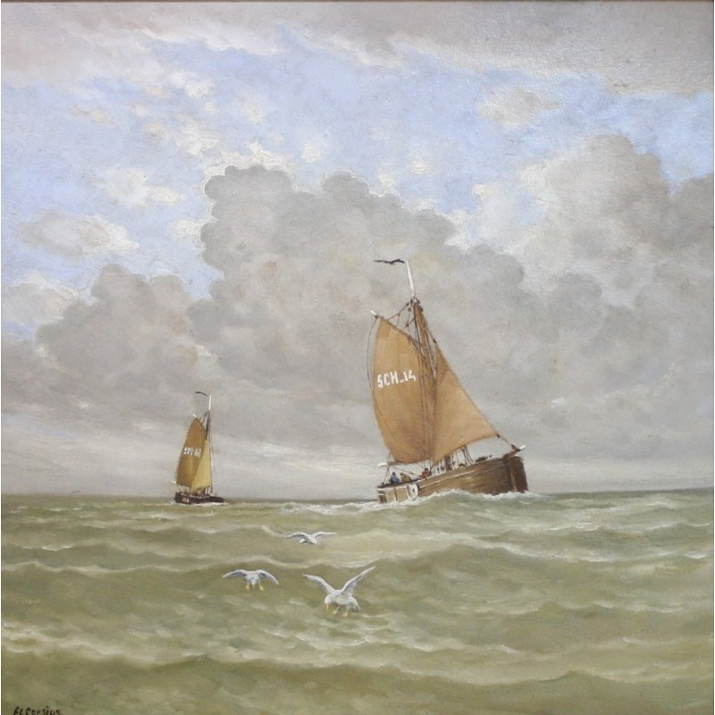 Frans Corsius-French fishing vessels at sea