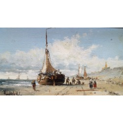 Hendrik Vader - Fishing boats on the beach