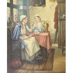 A. van Klugt-two women to the coffee table