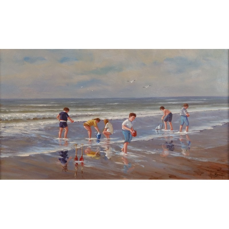 Henk van Beurden-children on the beach