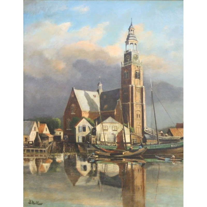 Hollaar-the Church and the shipyard of Maassluis