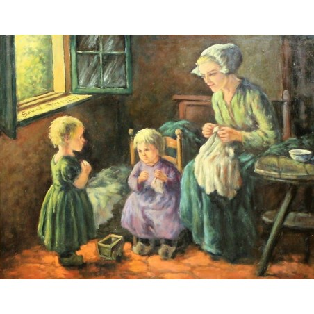 Woman with children playing